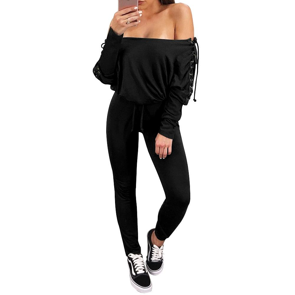 e6586556ba2 2019 Lace Up Off Shoulder Jumpsuits 2018 Spring Fashion Women Casual ...