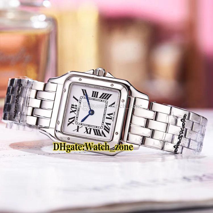 Brand New 27mm Panthere de W2PN0007 White Dial Swiss Quartz Womens Watch Two Tone 18K Yellow Gold Bracelet 13 Style Fashion Lady Watches