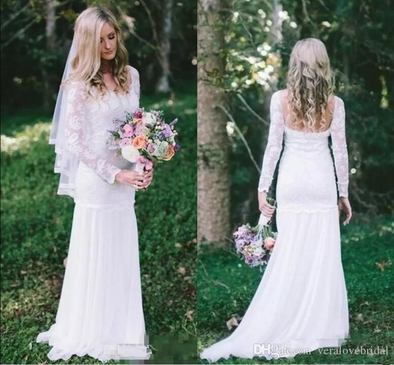 2018 Cheap Country Bohemian Wedding Dresses Full Lace Sheer Long