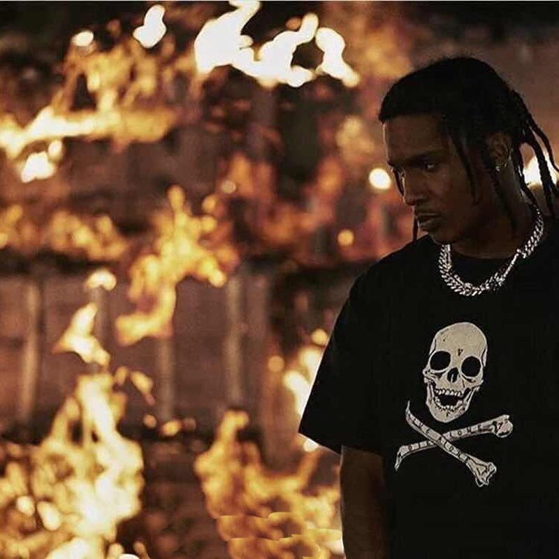36d5d880f ... 18SS Vlone ASAP ROCKY Christmaas Tee Black Skull Printed T Shirts