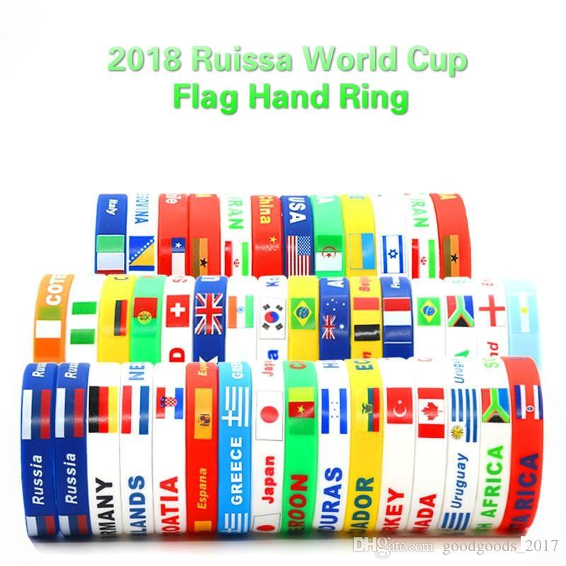 World Cup Silicone Flags Bracelet Hand Ring wrist strap World Cup Flags countries flag Bracelet Flag Football Increase the atmosphere MK273