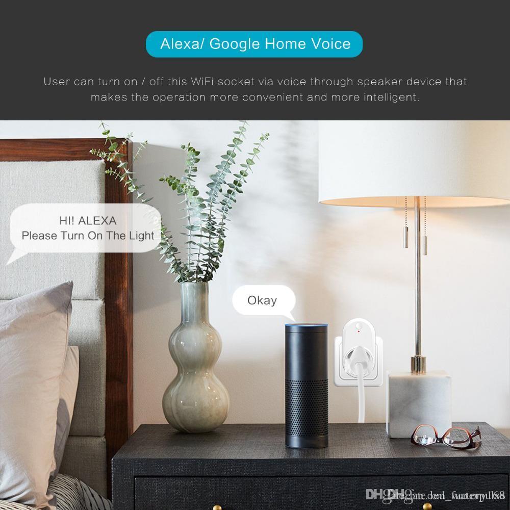 GoogleHome IFTTT 없음 허브 필수 와이파이 호환 알렉사 에코 스마트 와이파이 플러그 어디서나 스마트 소켓 제어 귀하의 장치를 사용 가능