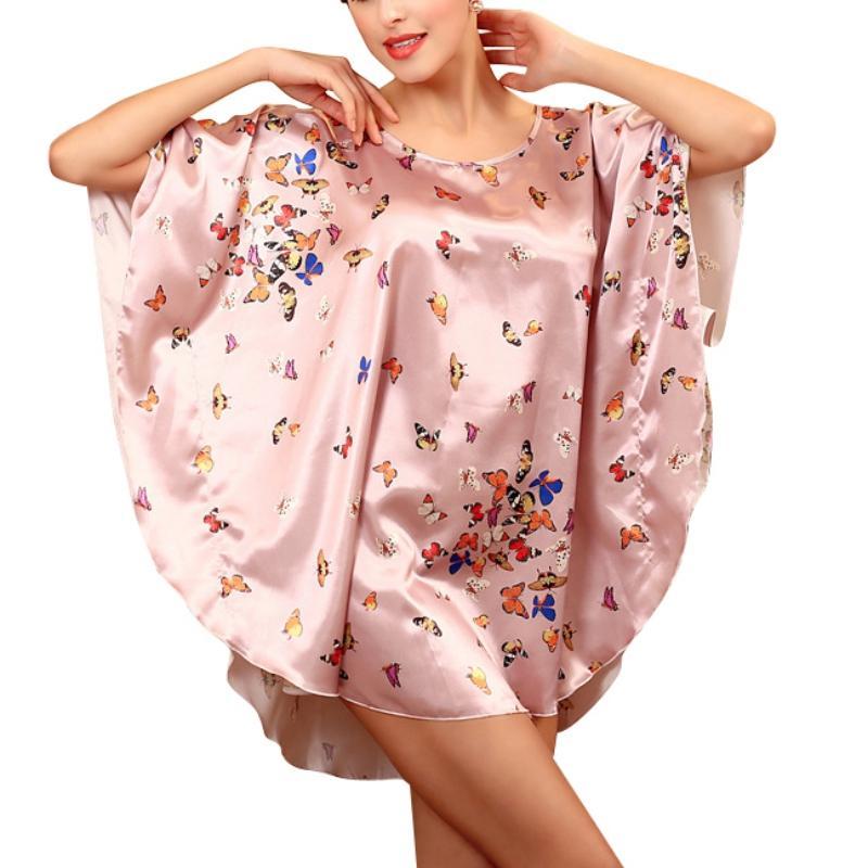 2016 Новая Мода Женская Пижамы Летучая Мышь Рукав Ночная Рубашка Летний Дом Пижамы