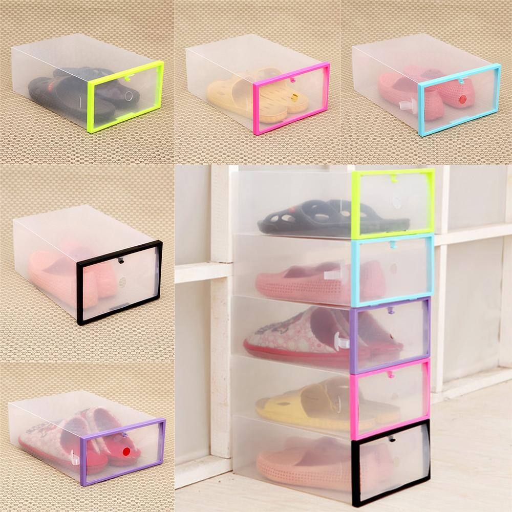 Foldable Clear Plastic Shoe Storage Boxes Organizer Stackable Drawer Container Shoe Organizers Household & Cleaning Supplies