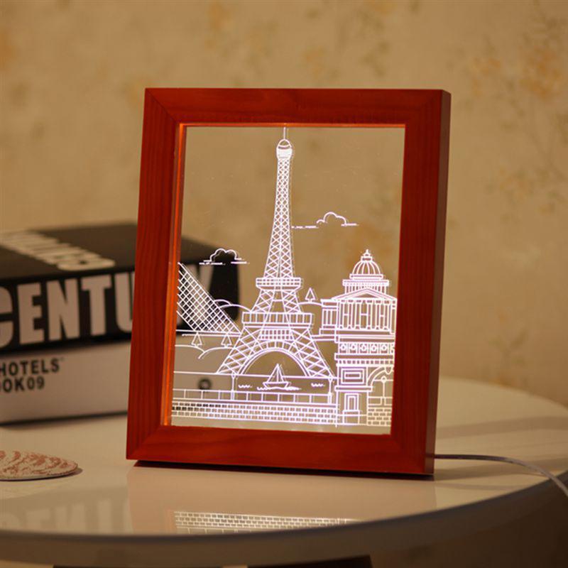 Großhandel 3D LED Licht Holz Paris Bilderrahmen Dekorative Acryl ...