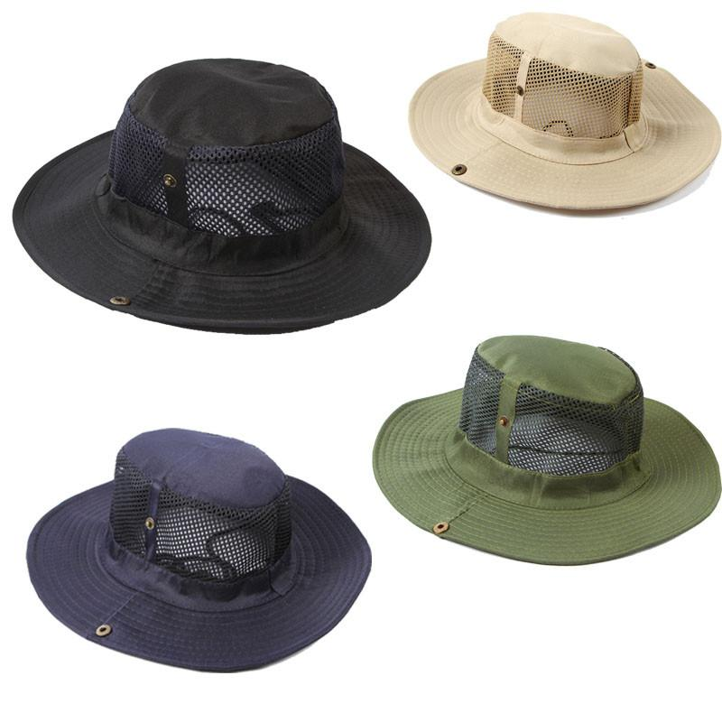 Men Outdoor Camping Fishing Cap Sun Protection Boonie Hat Wide Brim Canvas  Female Gorras Hombre Casquette Homme Straw Cowboy Hats Sun Hats For Men  From ... cab24b95692