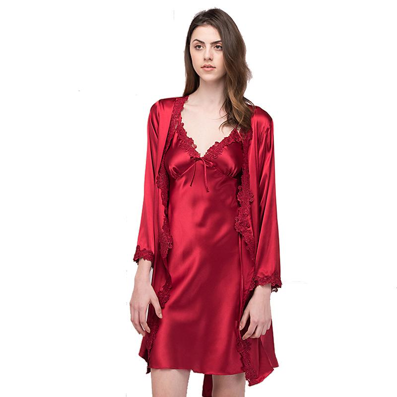 09384c1f963 2017 Brand New Sexy Women Satin Nightgown Robe Set Sexy Lace Strap Dress+Robe  Sleepwear Two Pieces Female Nightwear Night Dress