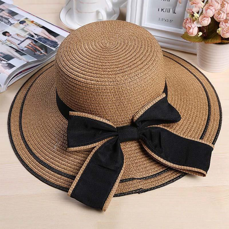 49a0bb5e281 New Summer Sun Hats Leisure Handmade Straw Hat Bow Decoration ...