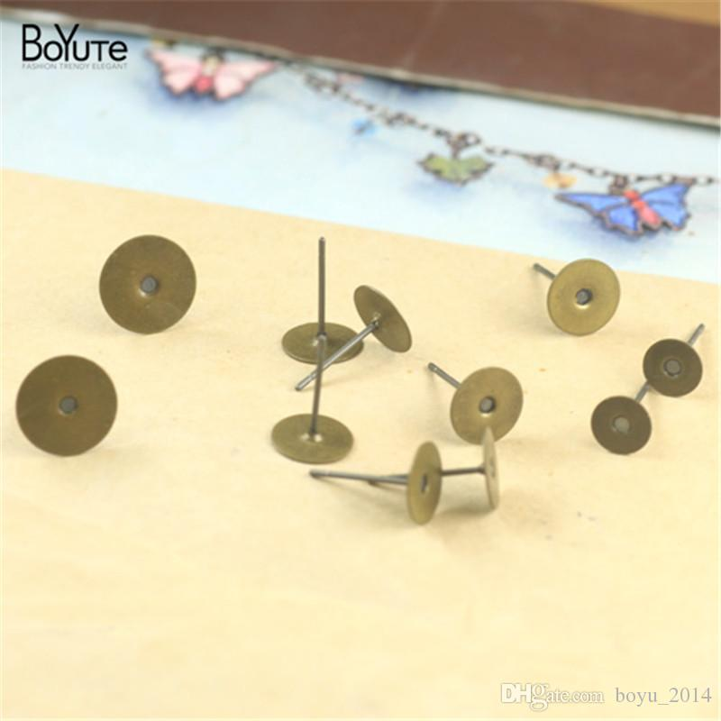 BOYUTE 200Pcs 6mm 8mm 10mm Cabochon Stud Earring Base Wholesale Antique Bronze Plated Vintage Diy Jewelry Findings