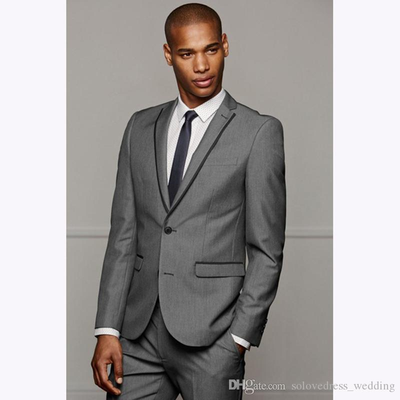 2a3e8261c6 New Mens Suits Slim Fit Grey Wedding Suit Groom Tuxedo For Men Business Two  Pieces Suits Set Jacket+Pants Mens Suits Sale Mens Tuxedos From ...