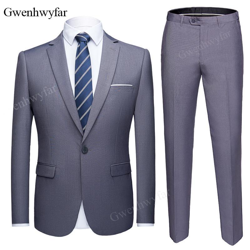 Compre Gwenhwyfar Chaqueta + Pantalones Clásico Hombres Wedding Suit Male Blazers  Slim Fit Trajes Para Hombres Traje De Negocios Fiesta Formal Gris Marina A  ... 3687144d5b5
