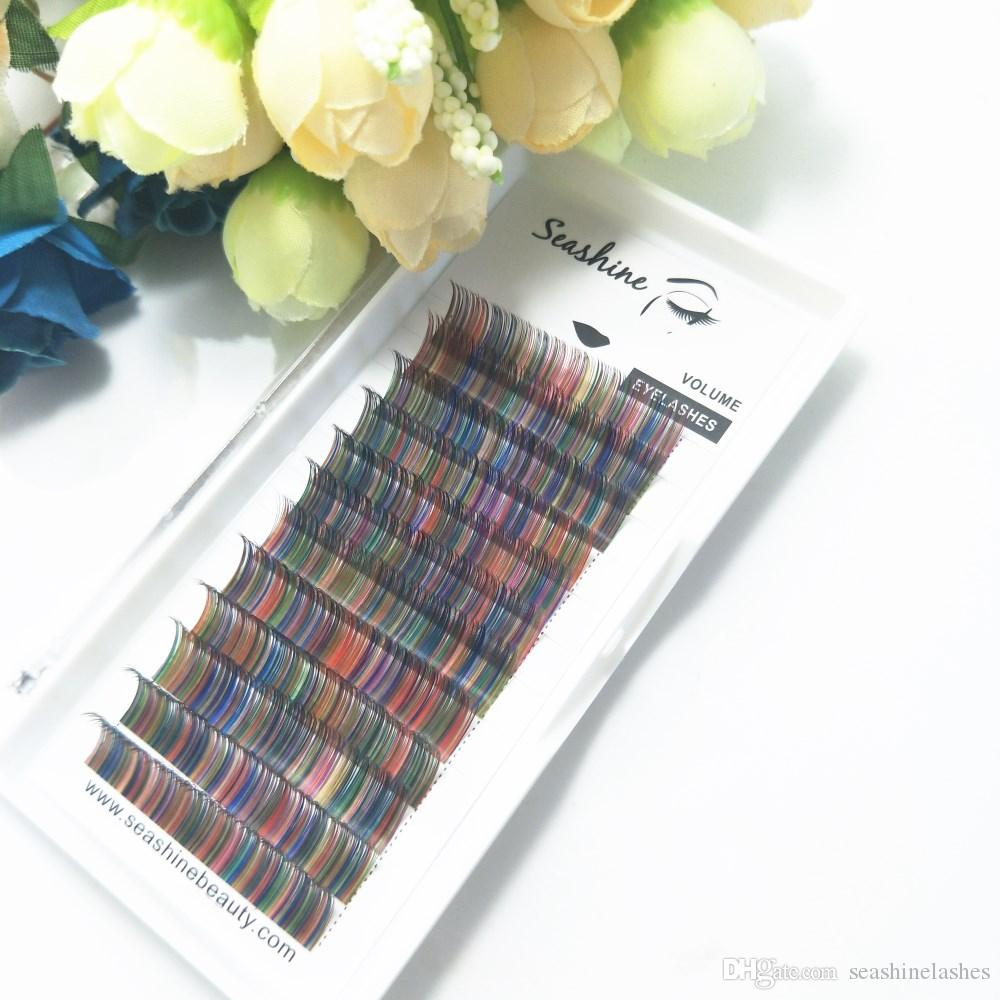 Seashine 12lines/tray rainbow color eyelash mix colored lashes Faux mink individual eyelash extension private label