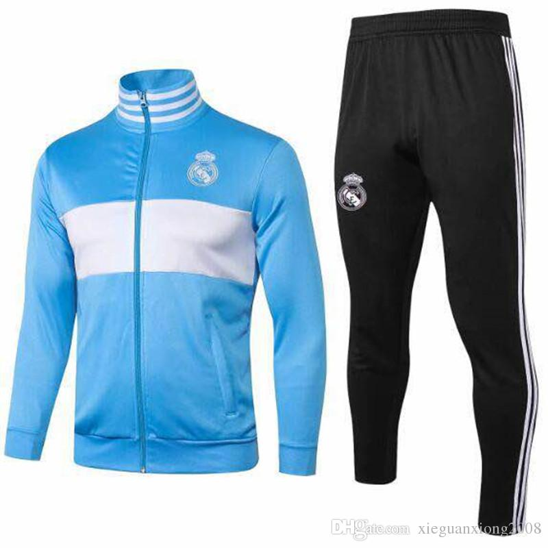 hot sale online 3228c 5a5dc Top Quality Real Madrid 2018 -19 Soccer Jacket Uniform 1819 Blue Real  Madrid Long Sleeve Sweater jacket sports training suit