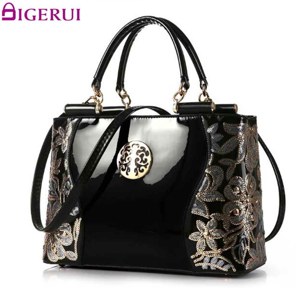 DIGERUI Women Patent Leather Handbags Good Quality Embroidery Vintage  Shoulder Bags Female Messenger Bag A846 Cute Bags Purses For Women From  Conglan a705e59723