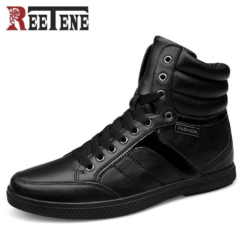 ccf999b78 Compre Botas De Perna De Inverno Russo Quente Botas De Neve De Couro  Genuíno Preto Lace Up Confortável Sapatos De Inverno Macio Para O Homem  Tamanho Grande: ...