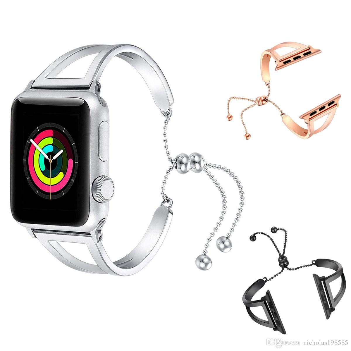 4e03b07c9e8e Women Girls Bracelet Watch Strap For Apple Watch Band 38mm 42mm Iwatch  Series 4 3 2 1 Luxury Stainless Steel Replacement Band Leather Strap For  Watches ...