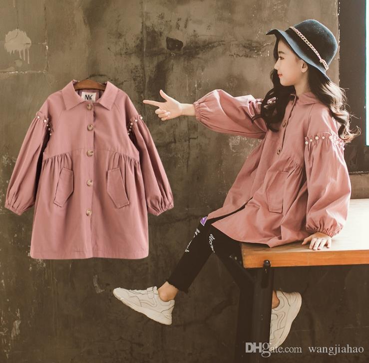 ac34afb86 Compre Meninas Vestidos 2018 Meninas Outono E Inverno Jaqueta Corta Vento  De Pérola Lapela Single Breasted Casaco Coreano Princesa Camisa Vestido De  ...