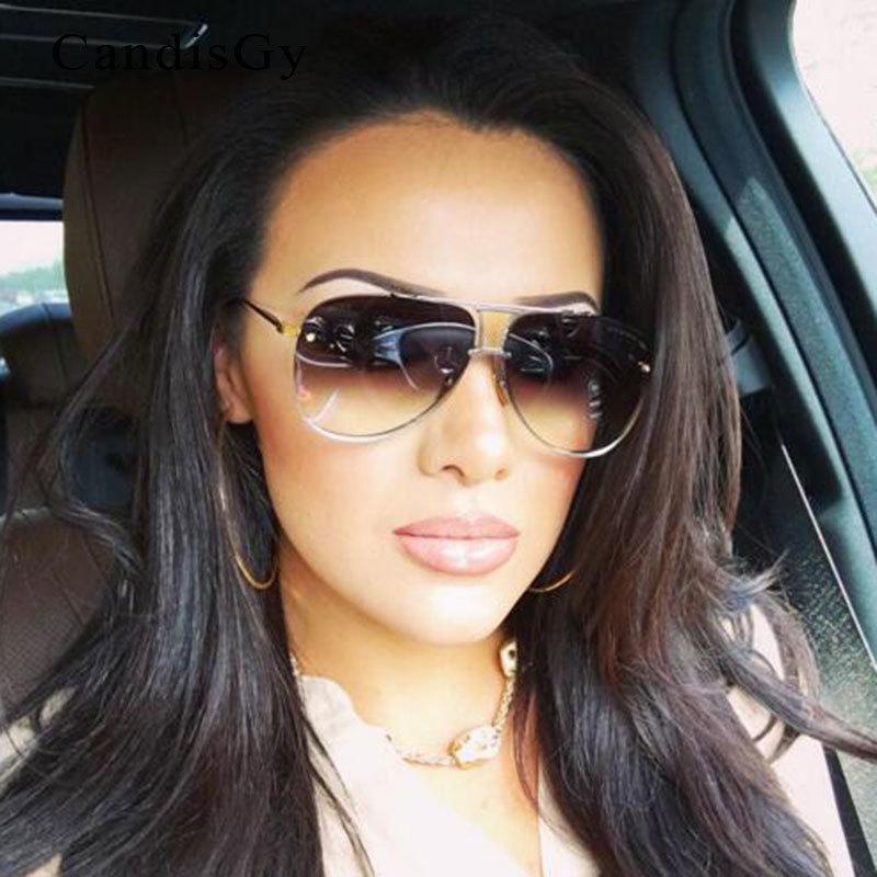 766316e3fbde3e Acheter Hommes Ou Femmes Marque Designer Lunettes De Soleil Original FeMale  Lady UV400 Miroir Kim Kardashian Lunettes De Soleil Full Metal 2016 Nouvelle  ...