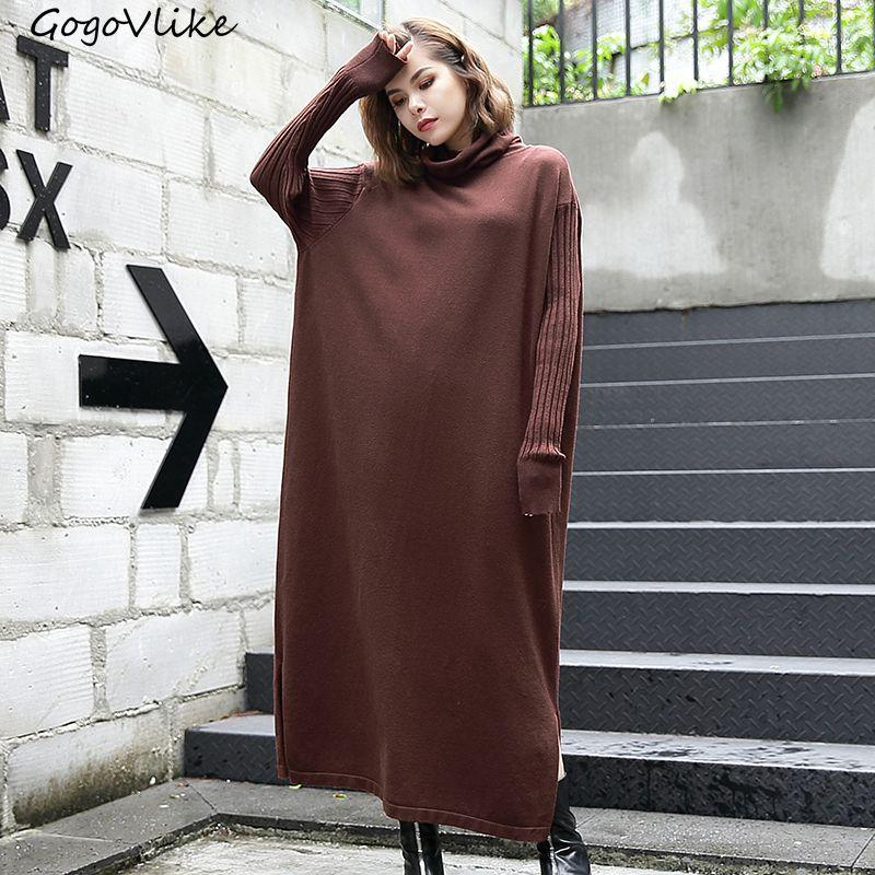 2019 High Collar Loose Knit Vestidos Oversize 2017 Women Elegant