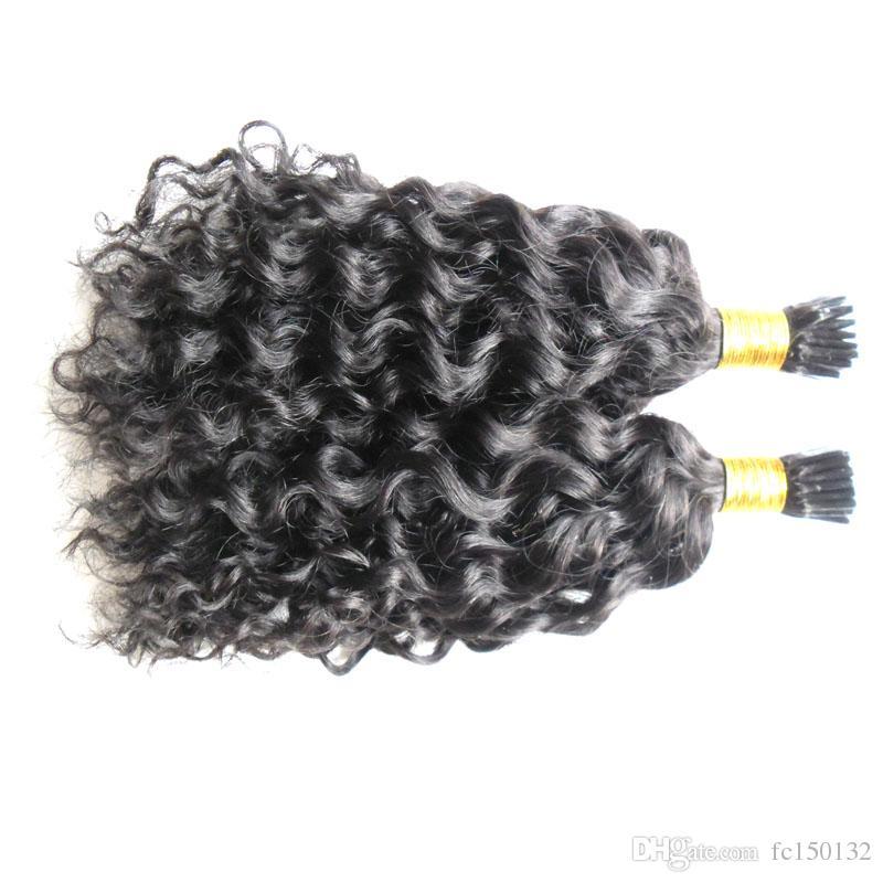 Nail Natural Color riccio crespo cheratina di fusione dei capelli umani capovolgo macchina fatta Remy Pre Bonded Hair Extension 100g / fili