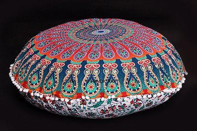 Large Floor Pillows Indian Mandala Round Cushion Covers Pouf Ottoman ...