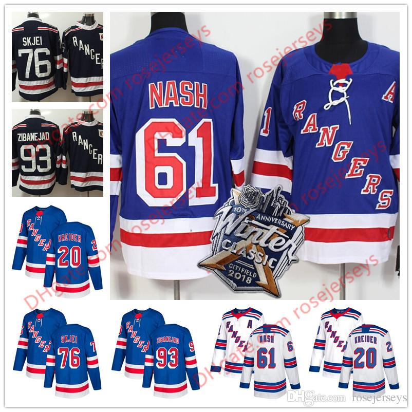 2018 New York Rangers  61 Rick Nash 76 Brady Skjei 93 Mika Zibanejad 20  Chris Kreider Light Blue White 2018 Winter Classic Navy Jerseys From  Rosejerseys 067d2e4f6