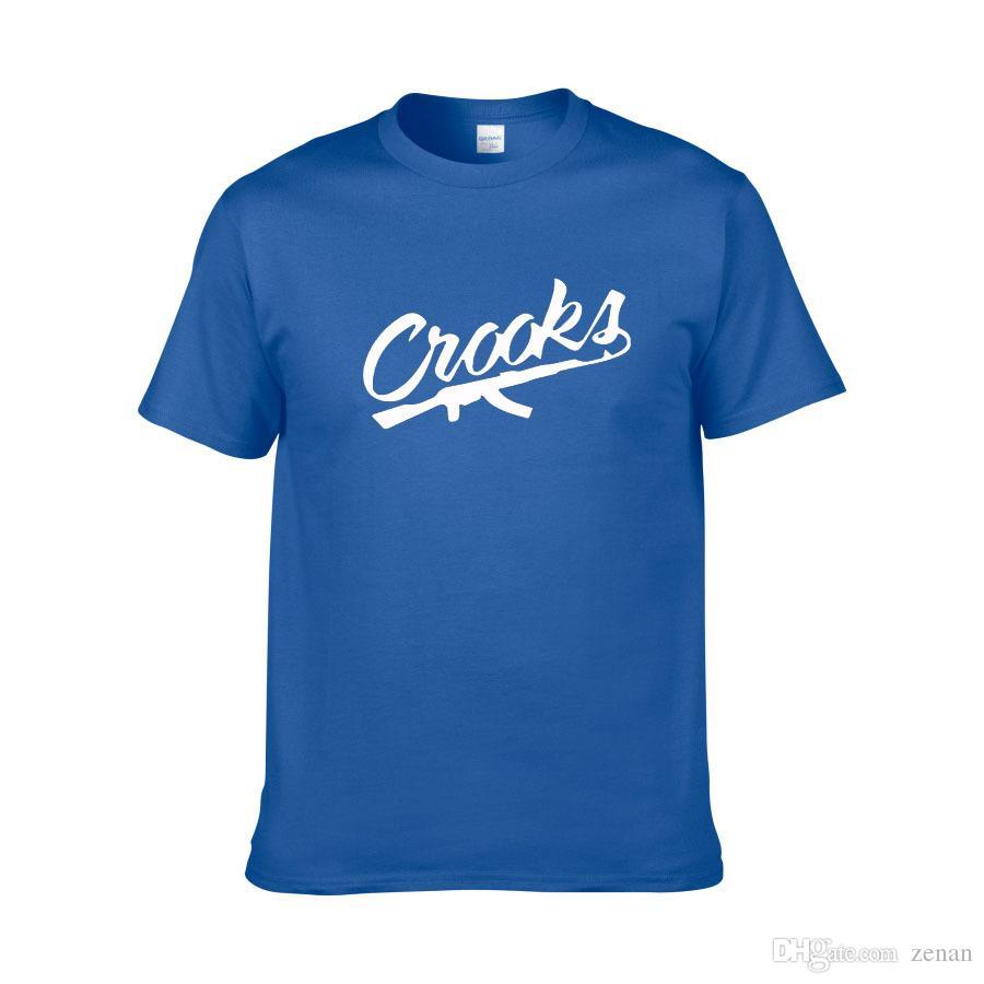 Tamaño europeo XS-XXL Crooks and Castles Camisetas Hombre Camiseta de algodón de manga corta Letra de CROOKS Camiseta para hombre de top Tops Camiseta Envío gratuito