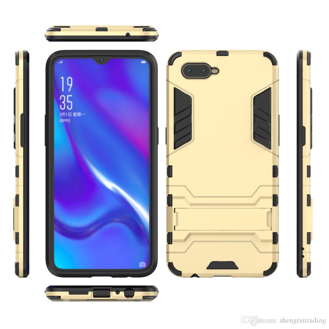 New Hybrid 2 in 1 Hard PC +TPU Back Cover Case For OPPO K1 R17 F9 A5 A3S R15 A83 R11 Plus A73 F5 with Stand Flexible Armor