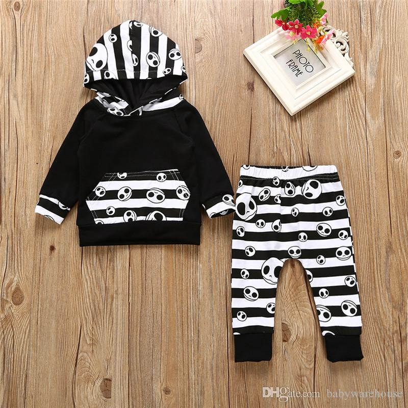 795bf8f43 Baby Boy Clothes Halloween Toddler Boys Clothing Tops Hoodie Skull Striped  Pants 2Pcs Boys Outfits Set Autumn Children Kids Clothes 0-24M