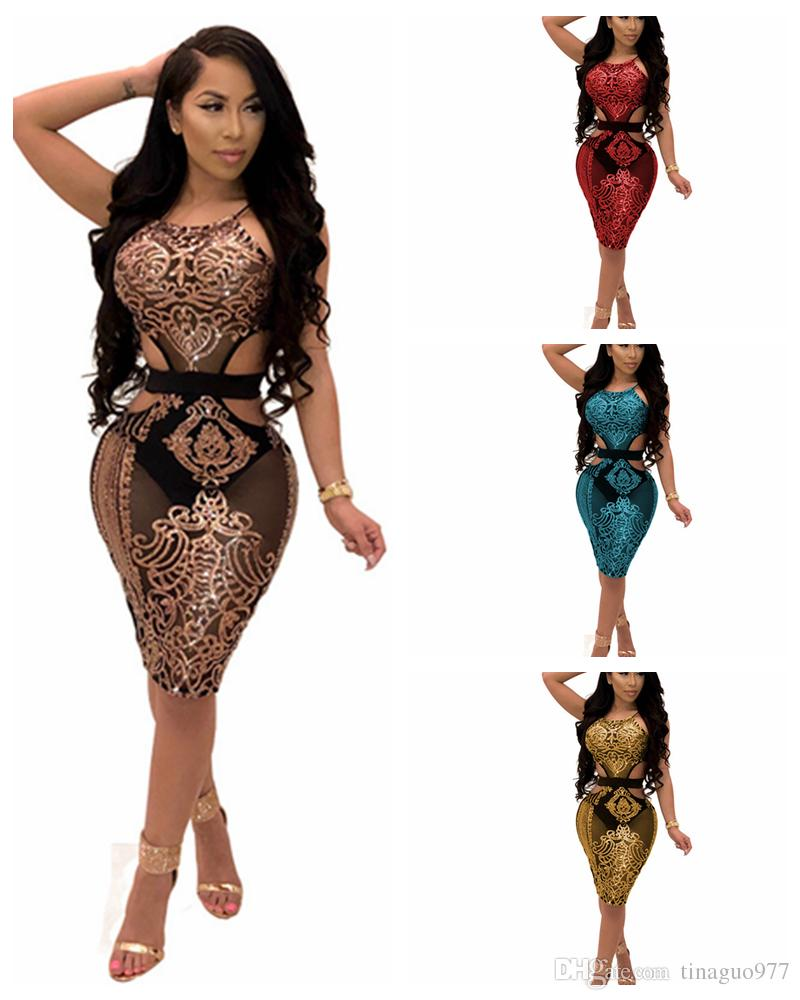 66c03b08afc Mesh Panel Sequined Dresses For Womens Halter Neck Cut Out Tight Sheer  Bodycon Club Dress Abito Donna