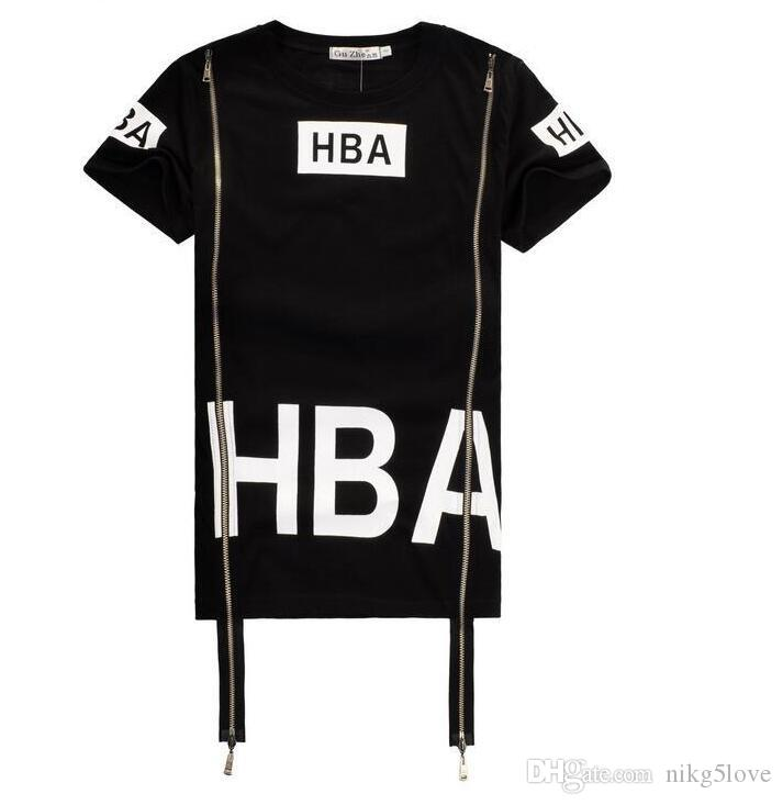 HBA Fashoin Hip Hop Streetwear Clothing Womens Mens Hood by Air Side Zipper T Shirt Effect Bone Black Shirt Top Men