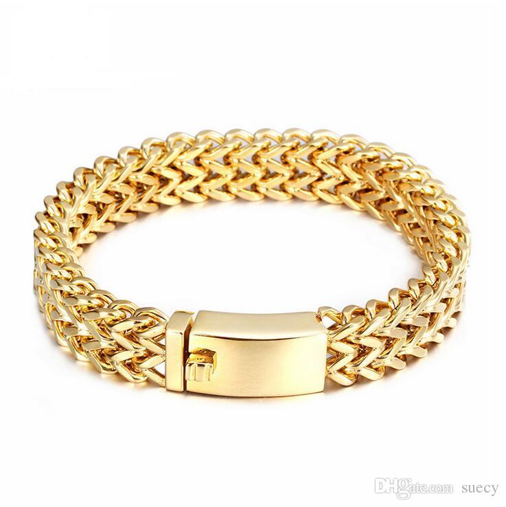 Yeni Marka Biker Bilezik Erkekler Takı Mücevherat Hediye Mens Bileklikler Bilezikler Altın Renk Örgü Paslanmaz Çelik Bileklik 12mm / 18mm geniş