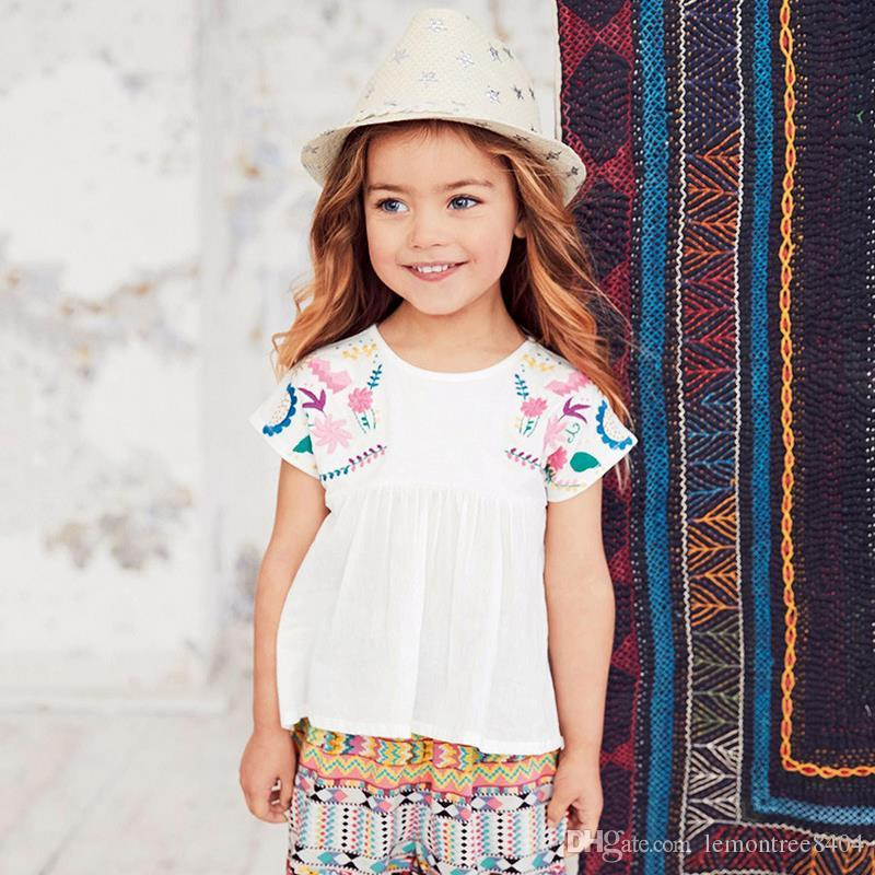 100%cotton sleeveless blouse dress baby t shirts girls t-shirt kids classic style cotton embroidery 18 months 2 3 4 5 6 years wholesale