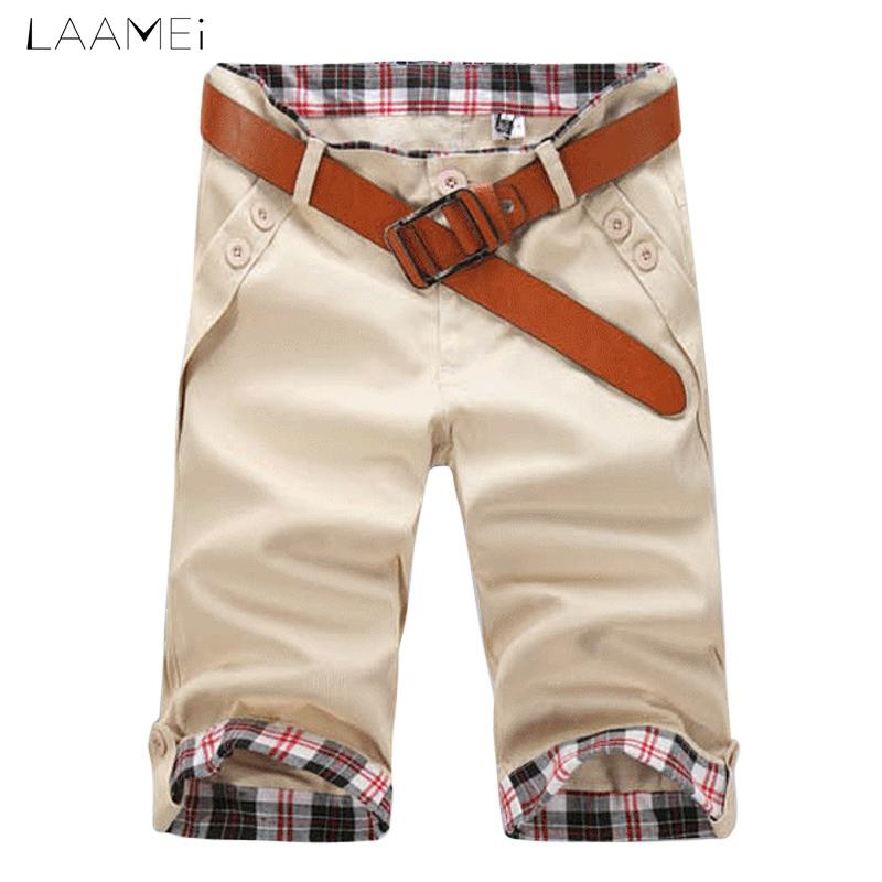 8413c1a5648 Laamei Men s Casual Pleated Shorts Belt Knee Length Trousers Mid ...
