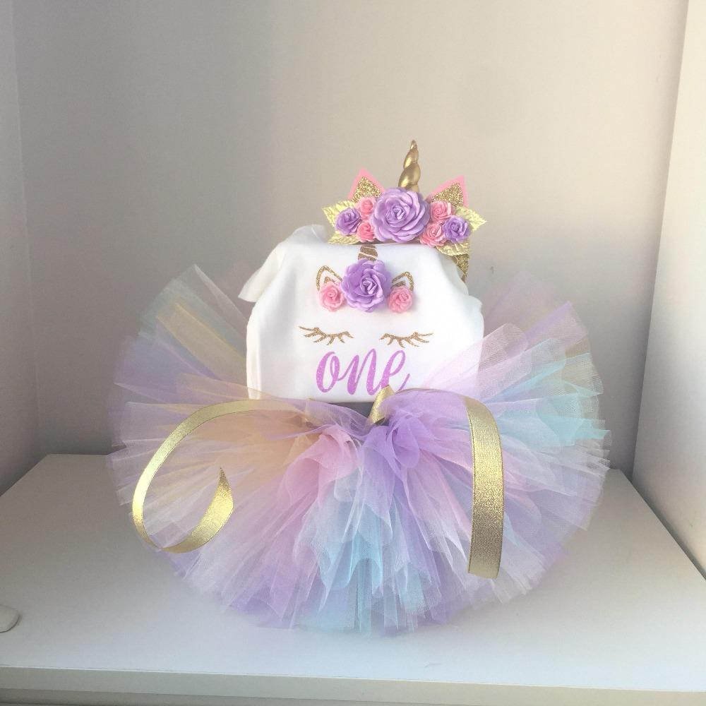 2019 First Birthday Girl Party Dress Unicorn Infant Cake Smash Outfits Romper Tutu Headband Litter Princess Baptism Costume From Sightly