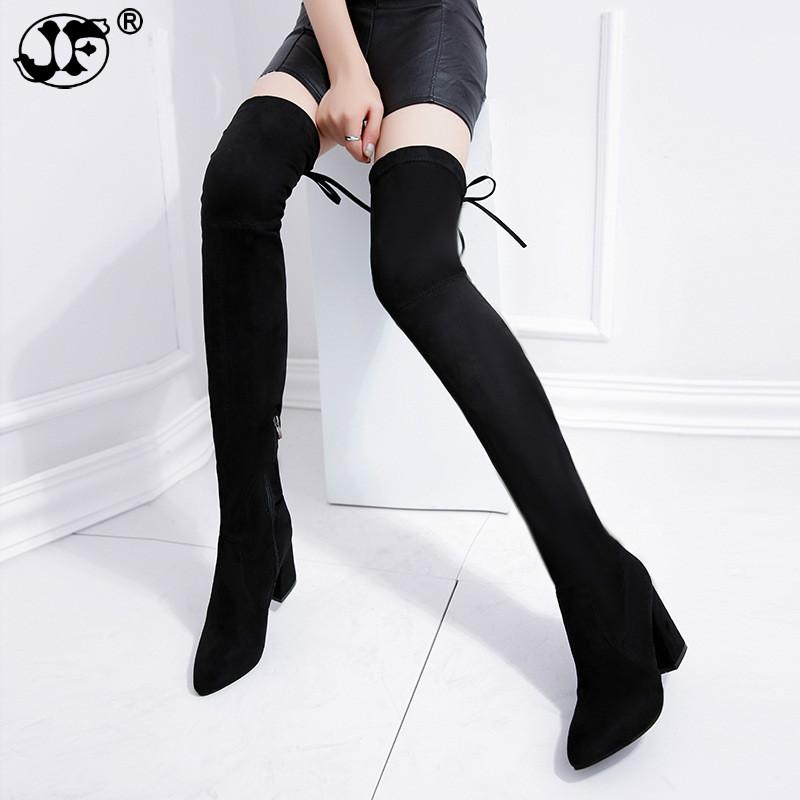 3440d3737e0 Thigh High Boots Female Winter Boots Women Over The Knee Flat Stretch Sexy  Fashion Shoes 2018 Black Hjm8 Grey Boots Brown Ankle Boots From Edmsaiko