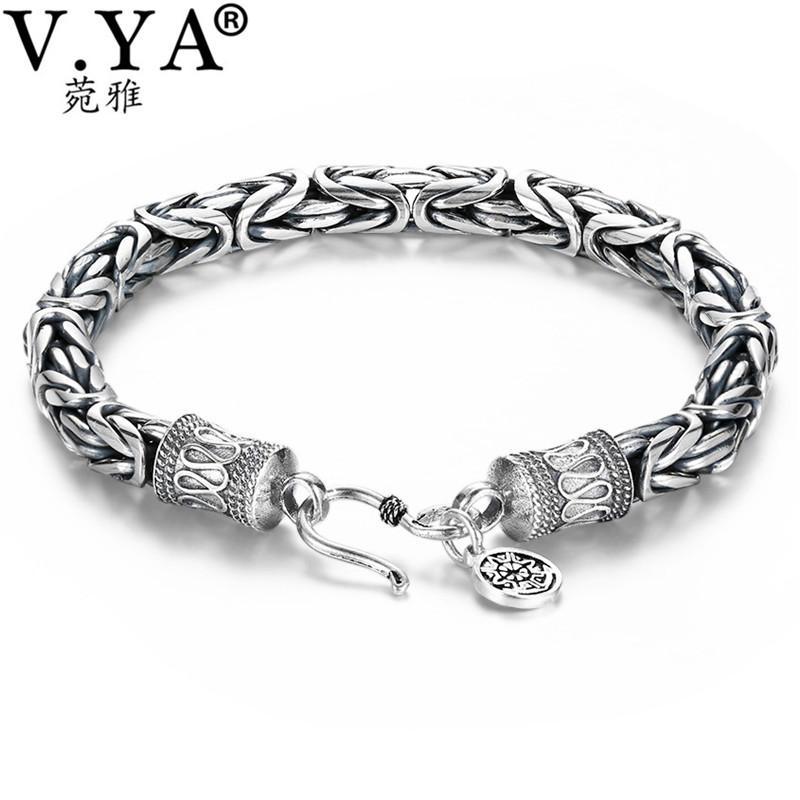 V Ya 4 5 6 7mm Handmade Men Bracelet Silver Punk Style 925 Sterling