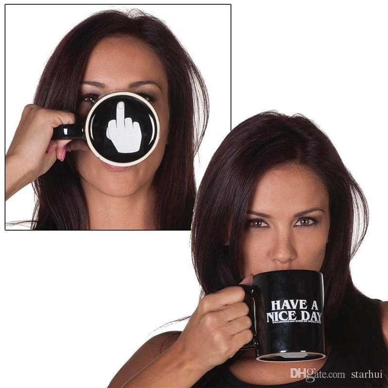 الإبداعية لديك يوم جميل أكواب القهوة السيراميك 301-400 ملليلتر الاصبع الأوسط كأس مضحك حليب الشاي شرب كأس هدايا WX9-240