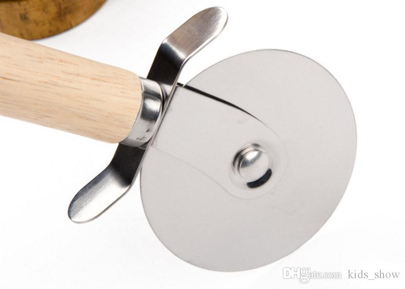 Stainless Steel Wheels Pizza Cutters With Wooden Handle Round pizza cutter Pastry Pasta Dough Crimper Kitchen Tools