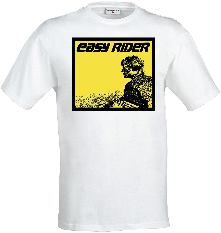 Cavaleiros Fácil Culto Filme Clássico Amarelo Arte homens (mulher  disponível) camiseta camisa brancaTee Camisa Para Homens O Pescoço Tops