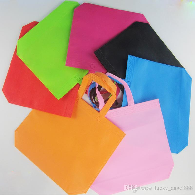/ colore della caramella pianura borsa non tessuta formato regolare 33 * 26 * 10 cm shopping bag logo personalizzato stampa modello personalizzato tote bags all'ingrosso