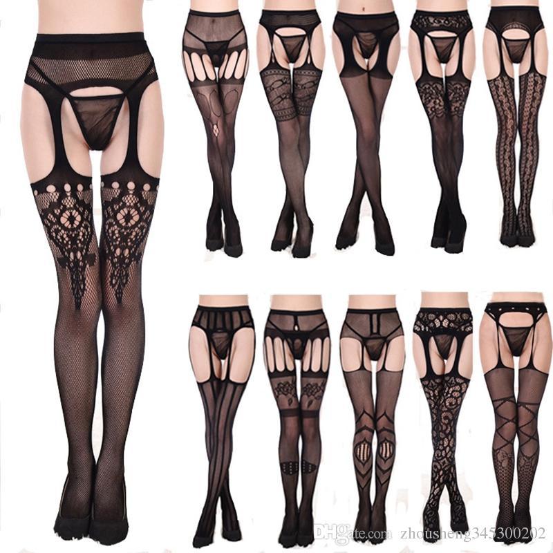 12 Stilleri Kadınlar Seksi Açık Crotch Külotlu Dantel Stocking Spandex Seksi Iç Çamaşırı Iç Çamaşırı Bayan Crotchless Tayt Fishnet Hollow Çorap