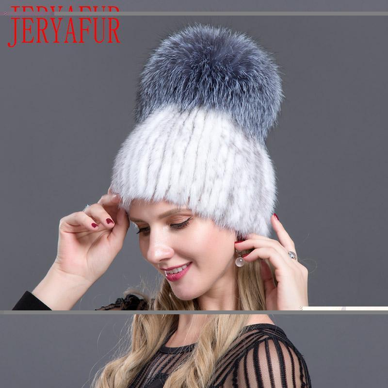 Compre JERYAFUR 2018 Moda Rusa De Visón Piel De Zorro Sombrero Moda Invierno  Mujer Gorra Gorra De Piel Piel A  53.24 Del Jutie  a26405c79d9