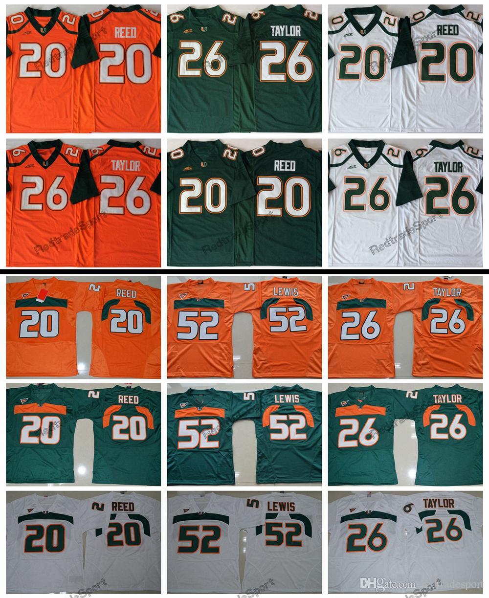 official photos 03e38 05c7f 2018 New Miami Hurricanes 26 Sean Taylor 52 Ray Lewis 20 Ed Reed College  Football Jerseys Mens Home Sean Taylor University Football Shirts