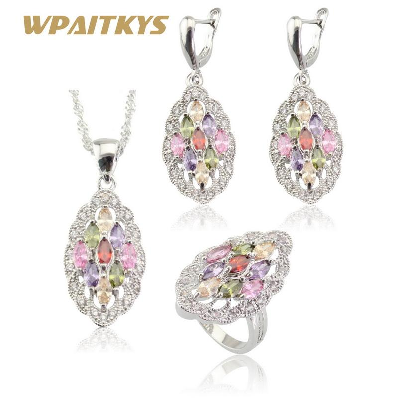 a7a2efa84eae Whole SaleWPAITKYS Multicolor Stones Silver Color Jewelry Sets For Women  Necklace Pendant Drop Earrings Rings Free Gift Box Bridal Set Silver  Wedding ...