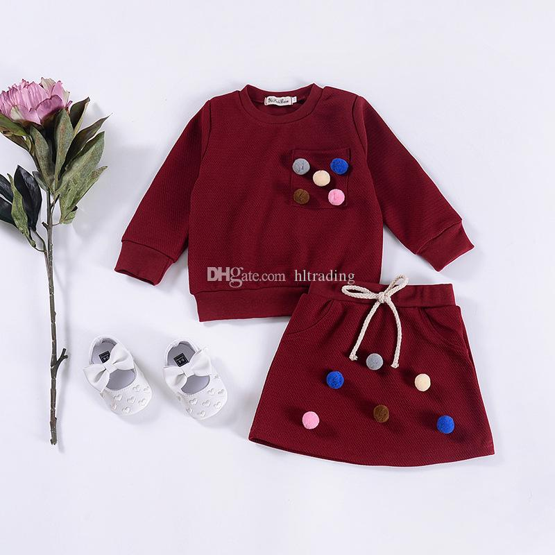 Baby girls leisure outfits children colorful pompoms applique pullover+skirts 2pcs/sets 2018 Spring Boutique kids Clothing Sets 3colorsC4595