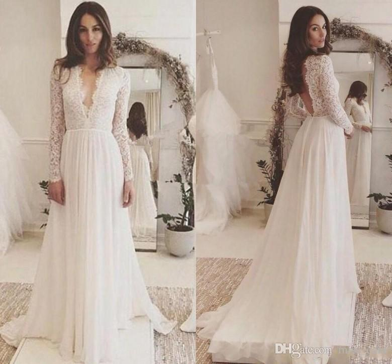 5ffd0e6483 Discount 2018 Sexy Deep V Neck Lace Long Sleeve Wedding Dresses Cheap  Backless Sweep Train Country Flowy Chiffon Plus Size Beach Wedding Gown A Line  Dress ...