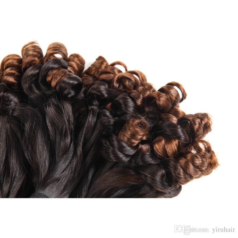 Brasiliano Ombre Rosa Funmi Capelli Brown Bundles 3 pezzi / lotto Ombre Funmi Capelli Estensioni T1b / 30 Weaves Natural Color