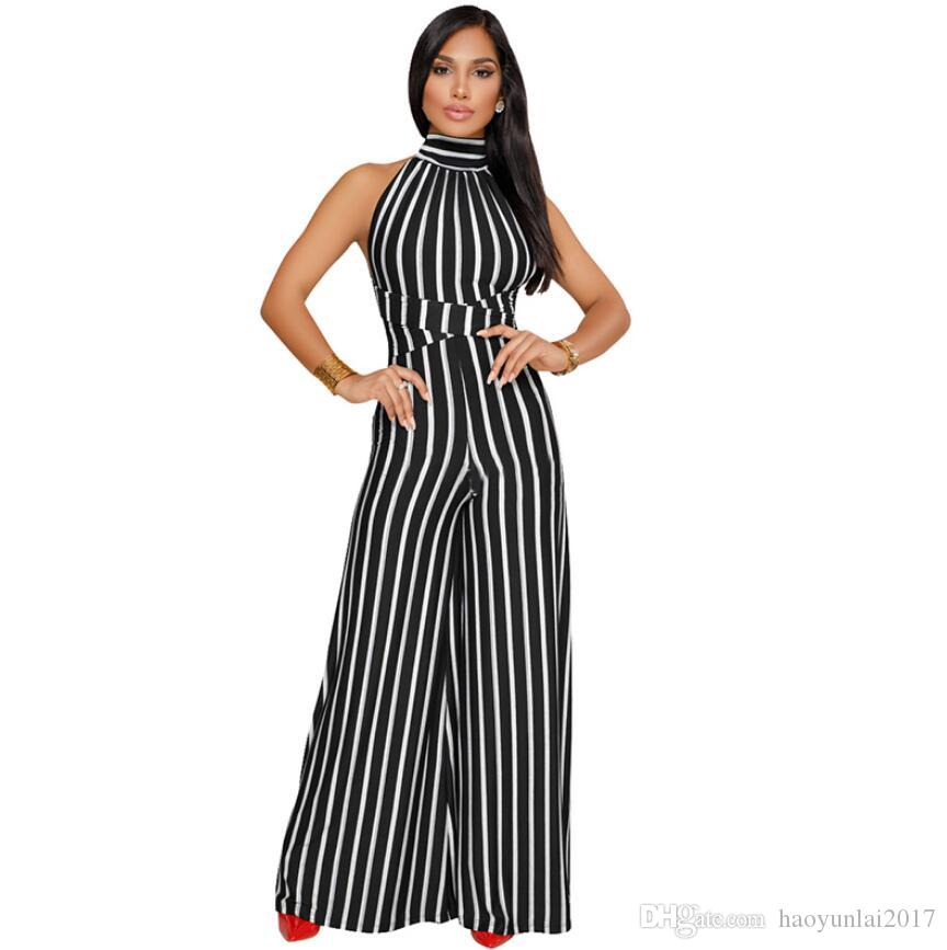 2019 New Fashion Women Casual Strip Full Length Jumpsuits Backless Party  Club Sexy Rompers Loose Leg Pants Combinaison Femme From Haoyunlai2017 84825da99b80