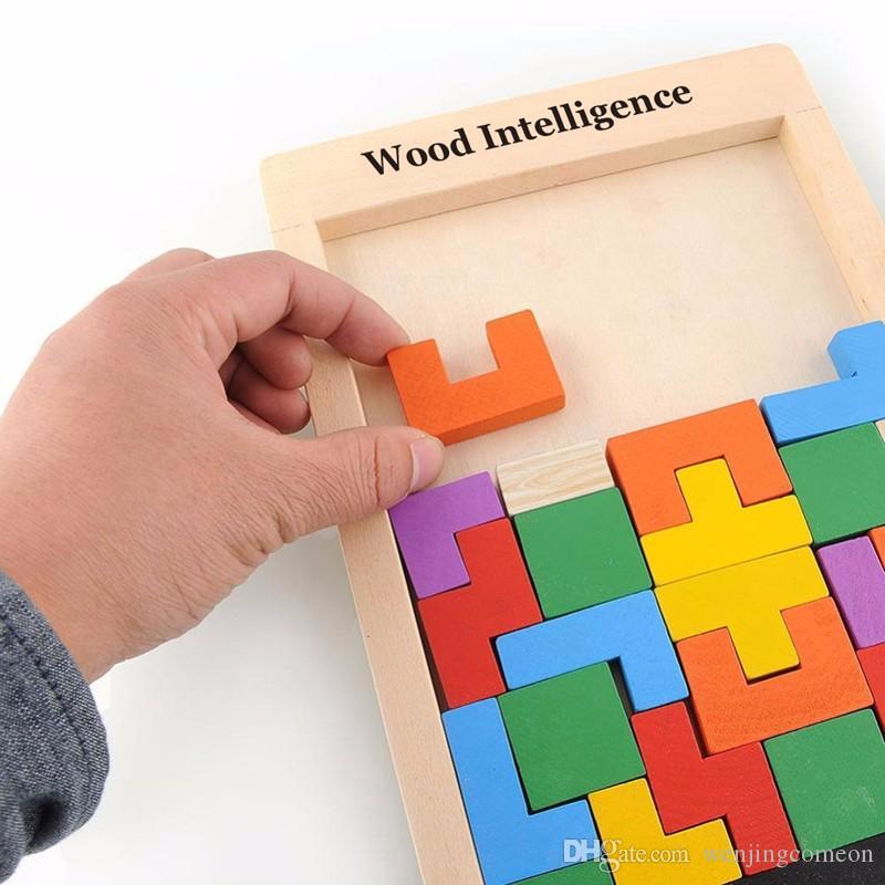 Variopinto in legno Tangram Brain Teaser Puzzle Giocattoli TETRIS gioco Preschool Magination Intellectual Educational Kid Giocattolo regalo